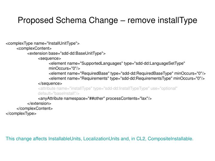 Proposed Schema Change – remove installType