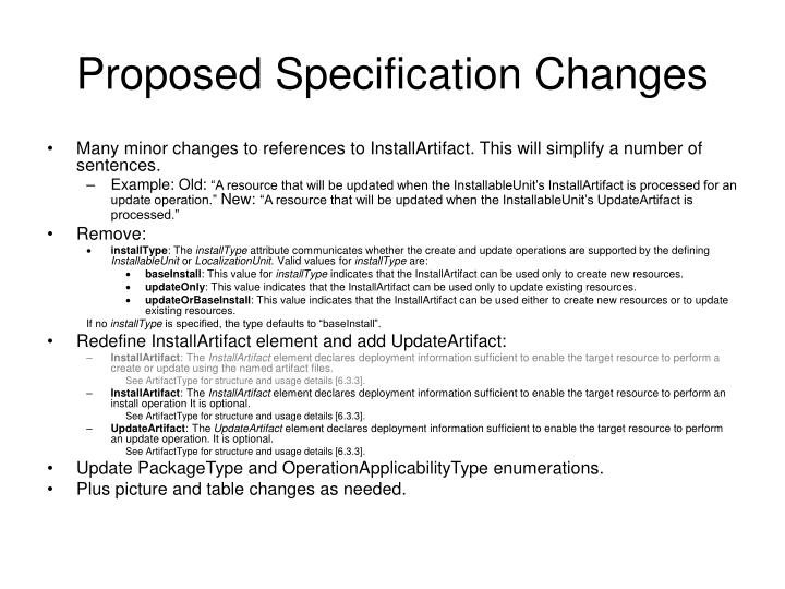 Proposed Specification Changes