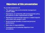 objectives of this presentation1