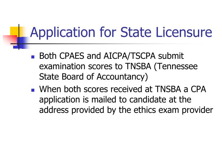 Application for State Licensure