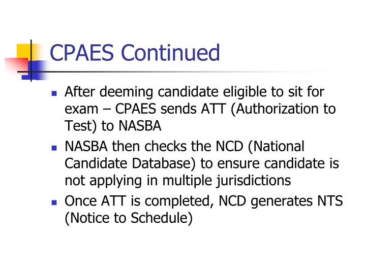 CPAES Continued
