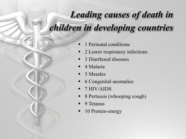 Leading causes of death in children in developing countries