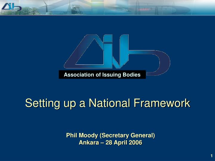 setting up a national framework n.