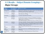 1 3 results subject domain groupings major groups