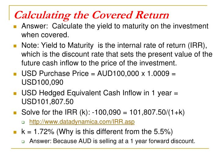 Calculating the Covered Return
