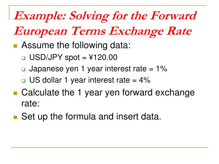 Example: Solving for the Forward European Terms Exchange Rate