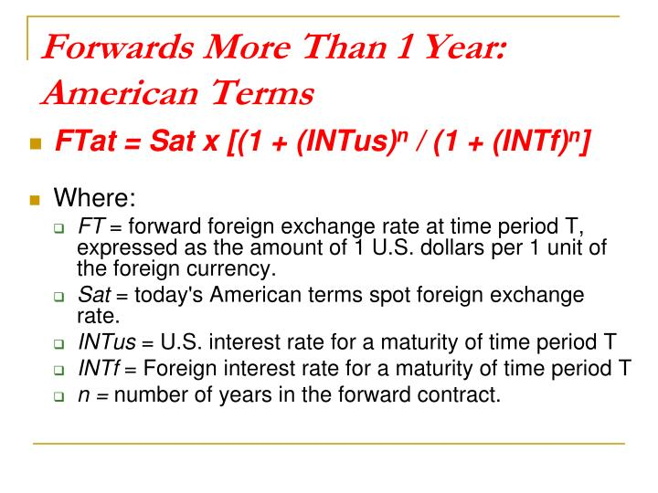 Forwards More Than 1 Year: American Terms