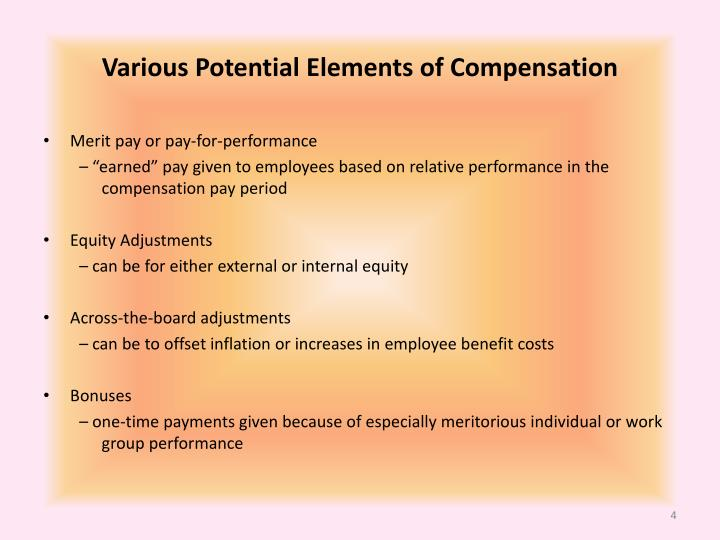 Various Potential Elements of Compensation