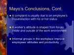 mayo s conclusions cont
