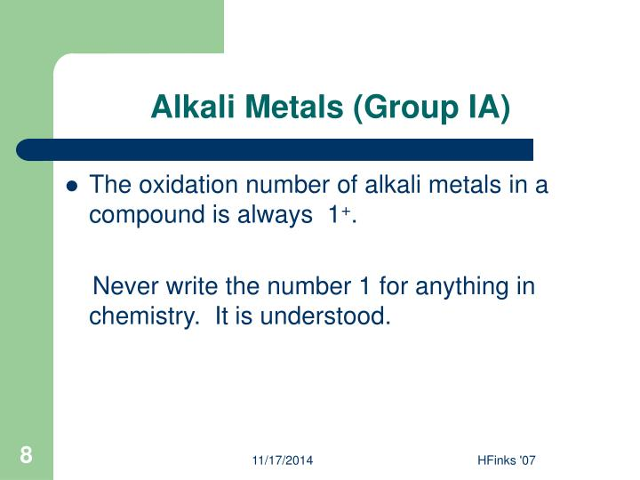 Alkali Metals (Group IA)