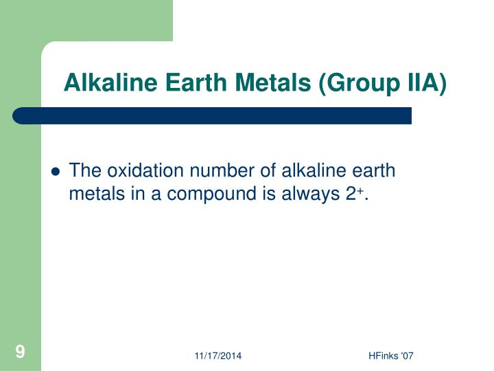 Alkaline Earth Metals (Group IIA)