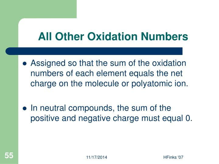 All Other Oxidation Numbers