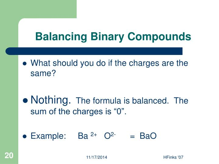 Balancing Binary Compounds