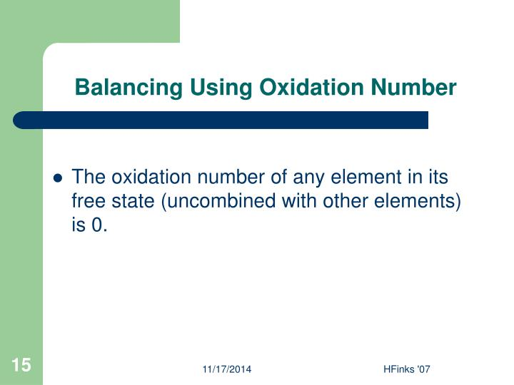 Balancing Using Oxidation Number