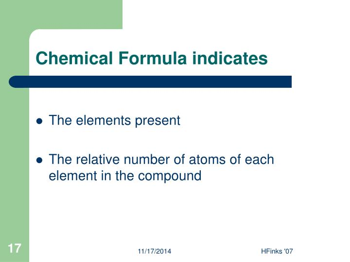 Chemical Formula indicates