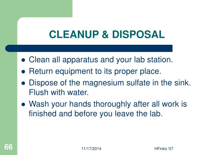 CLEANUP & DISPOSAL