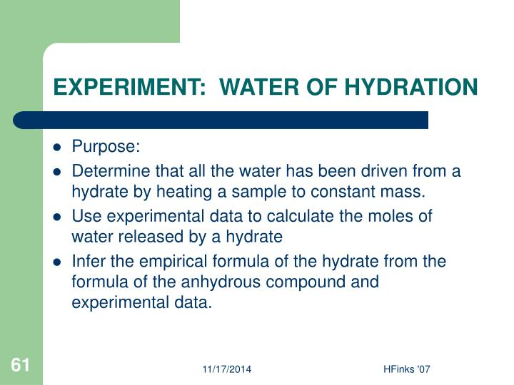 EXPERIMENT:  WATER OF HYDRATION