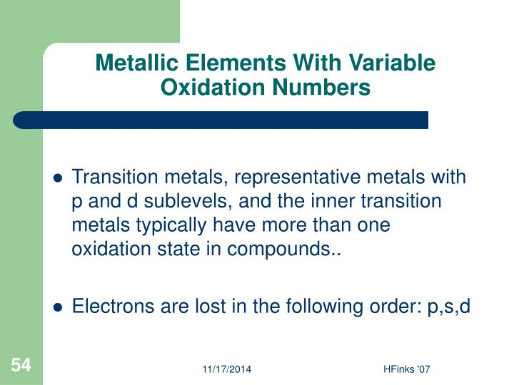 Metallic Elements With Variable Oxidation Numbers