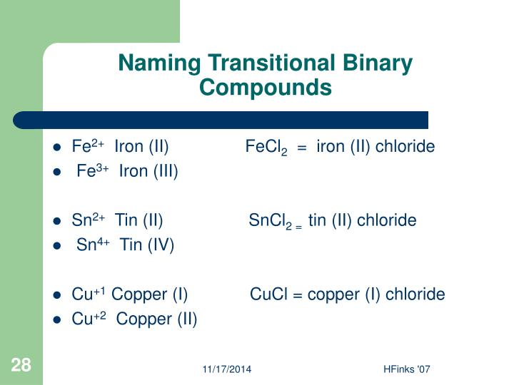 Naming Transitional Binary Compounds