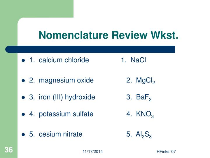 Nomenclature Review Wkst.