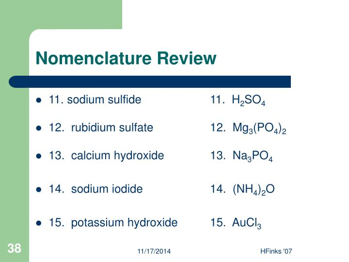 Nomenclature Review