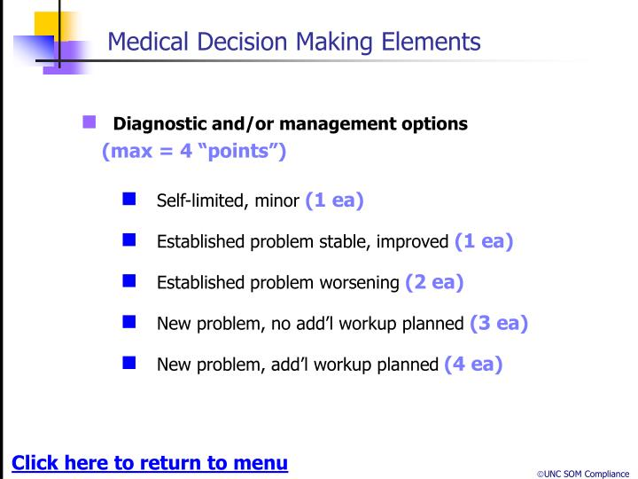 Medical Decision Making Elements