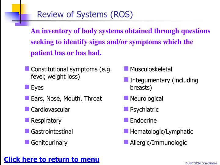 Review of Systems (ROS)