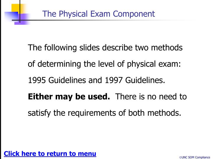 The Physical Exam Component