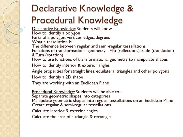Declarative knowledge procedural knowledge