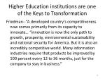 higher education institutions are one of the keys to transformation