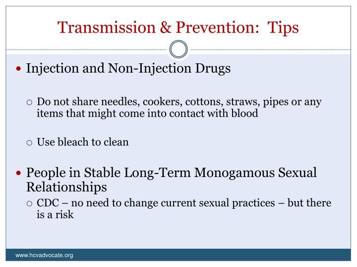 Transmission & Prevention:  Tips