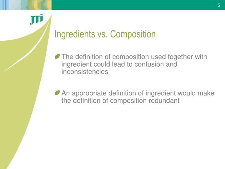 Ingredients vs. Composition
