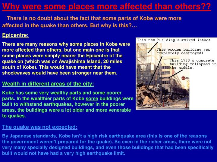 Why were some places more affected than others??