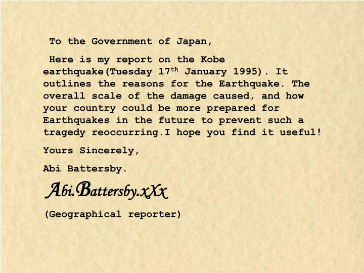 To the Government of Japan,