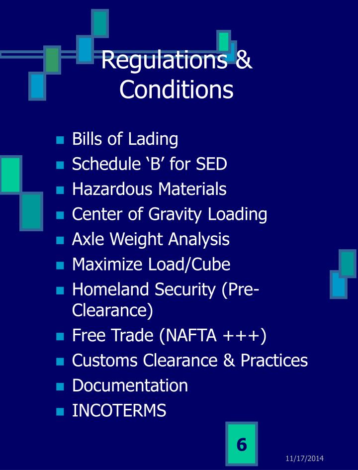 Regulations & Conditions