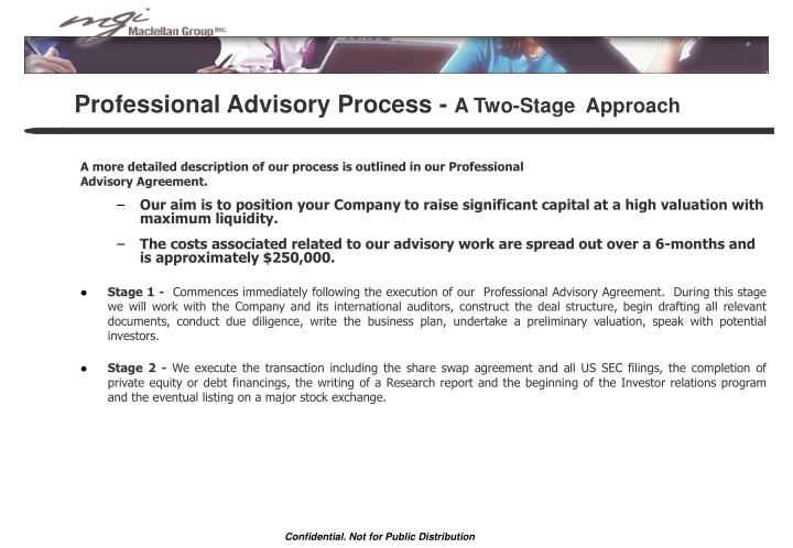 Professional Advisory Process -