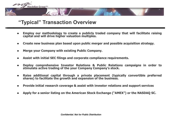 """Typical"" Transaction Overview"