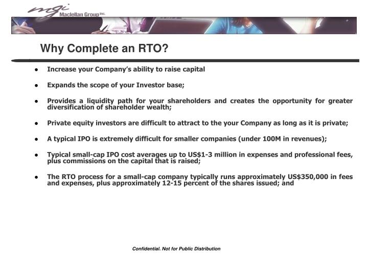 Why complete an rto