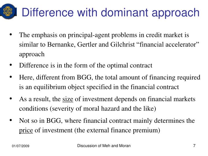 Difference with dominant approach