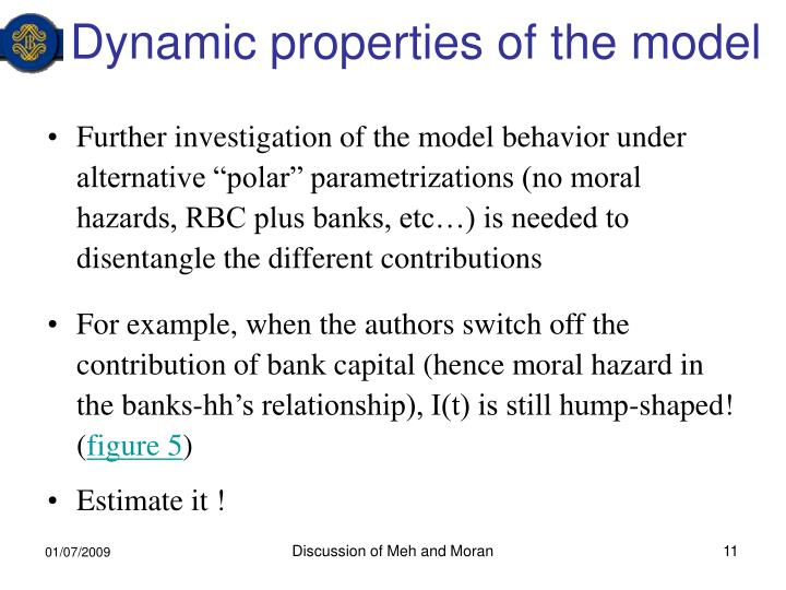 Dynamic properties of the model
