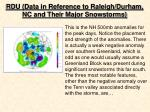 rdu data in reference to raleigh durham nc and their major snowstorms