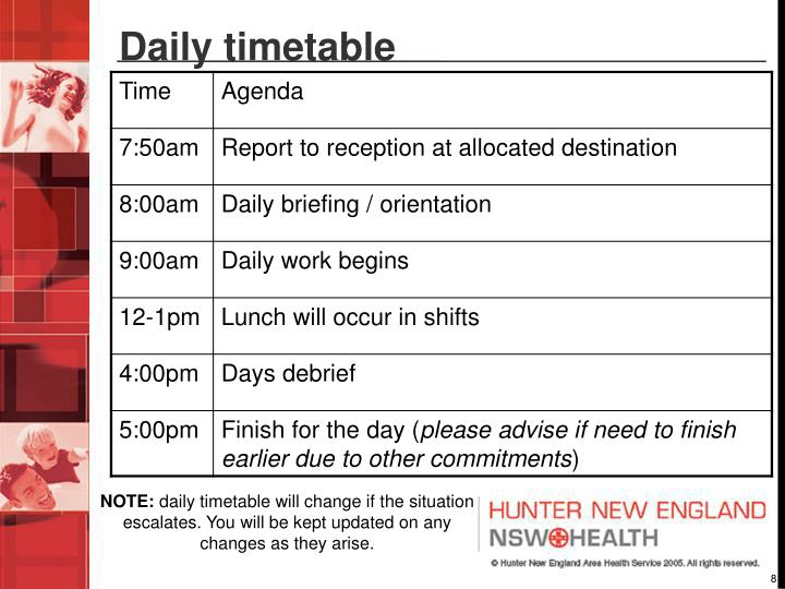 Daily timetable