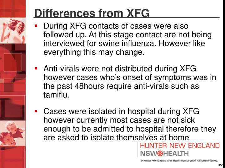 Differences from XFG