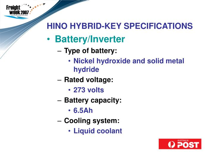 HINO HYBRID-KEY SPECIFICATIONS