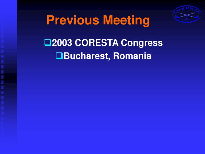 Previous meeting