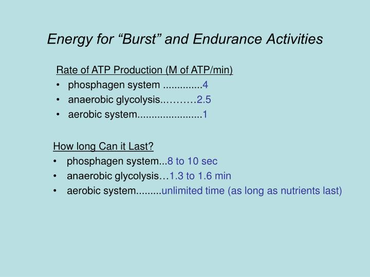 """Energy for """"Burst"""" and Endurance Activities"""