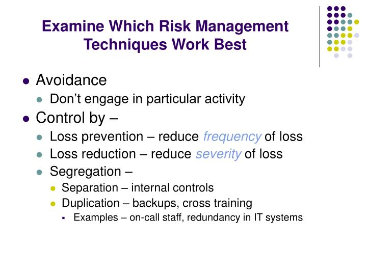 Examine Which Risk Management Techniques Work Best