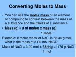 converting moles to mass