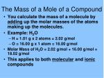 the mass of a mole of a compound