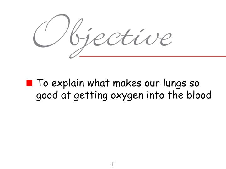 To explain what makes our lungs so good at getting oxygen into the blood